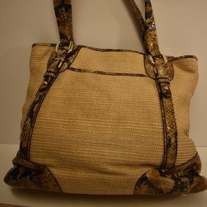 B. Makowsky Jute Leather Snakeskin Shoulder Bag
